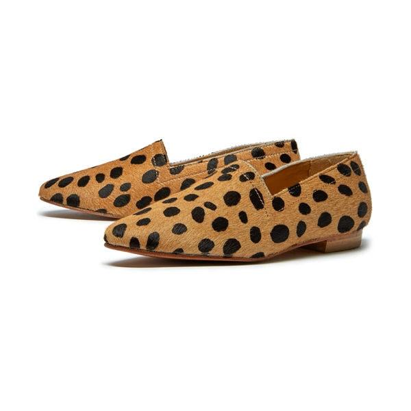 Ops&Ops No14 Cheetah lined ponyskin flats, pair