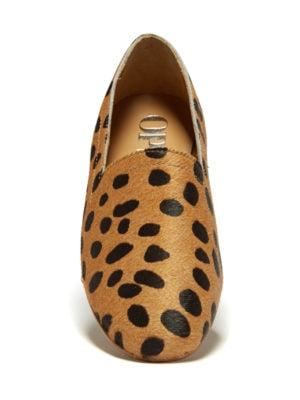 Ops&Ops No14 Cheetah lined ponyskin flats, front view