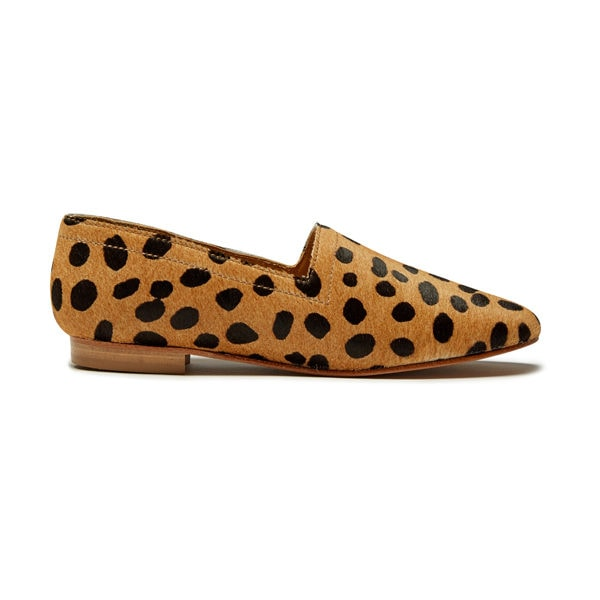 Ops&Ops No14 Cheetah lined ponyskin flats, side view
