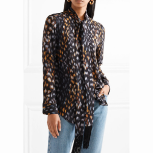 Equipment Leopard Print pussy-bow blouse