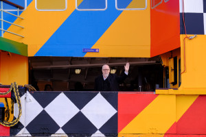 Sir Peter Blake aboard his Everybody Razzle Dazzle ferry