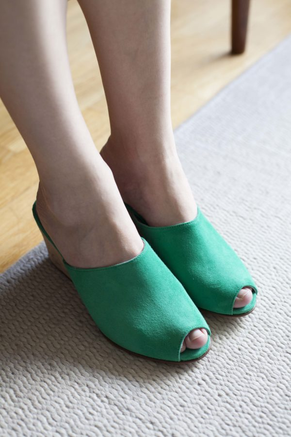 Ops&Ops No15 Mules Emerald suede with Cork heel