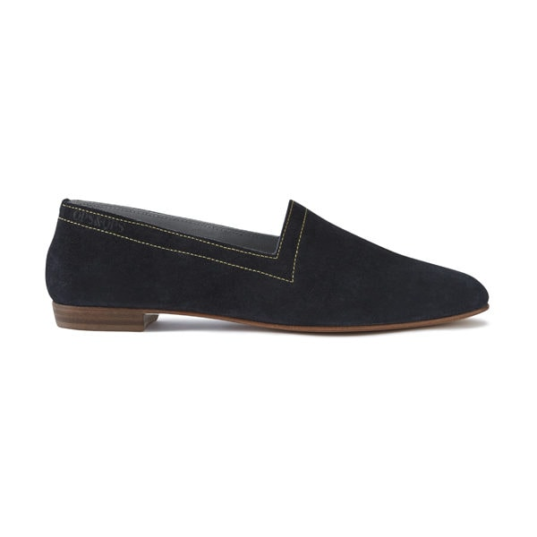 Ops&Ops No10 Indigo Suede with Gold Stitching flats, side view