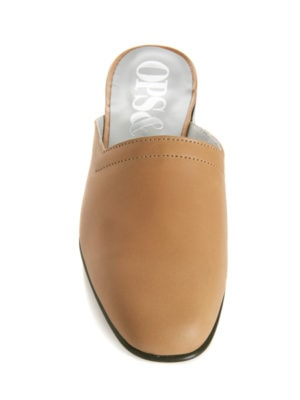 Ops&Ops No13 Latte leather slides with black edge, top view
