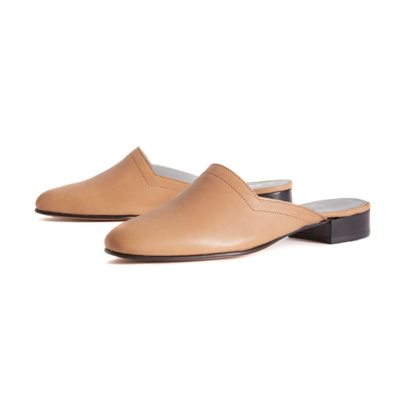 Ops&Ops No13 Latte leather slides with black edge, pair