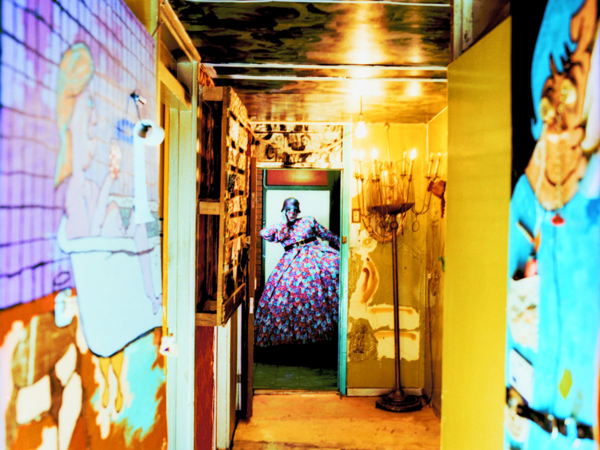 Mavericks: Looking down the hallway of Leigh Bowery's extraordinary flat.
