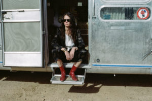 Contemplating next move on motorhome steps in Ops&OpsDark Cherry boots