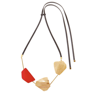 Marni wood and leather necklace