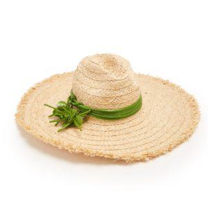 Miu Miu green leather embellished straw hat