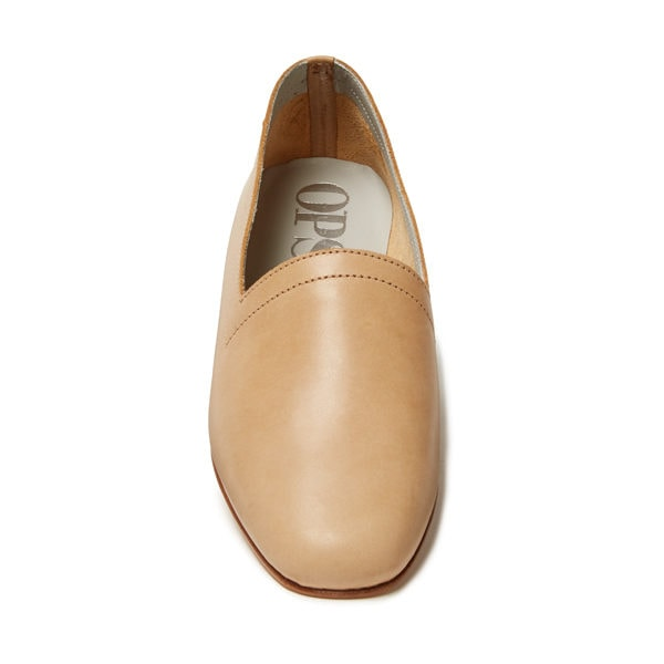 Ops&Ops No10 Latte matte leather flats, front view