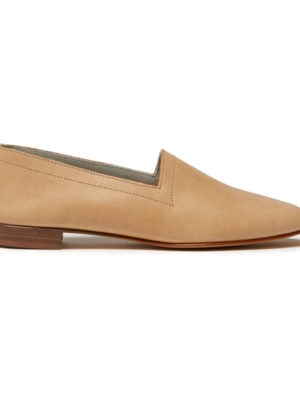 Ops&Ops No10 Latte matte leather flats, side view