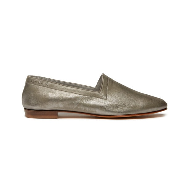 Ops&Ops No10 Nickel metallic leather flats, side view