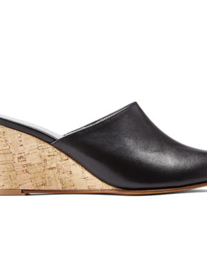 Ops&Ops No15 Mules Classic Black with Cork heel, side view