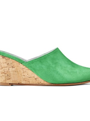 Ops&Ops No15 Mules Emerald suede with Cork heel, side view