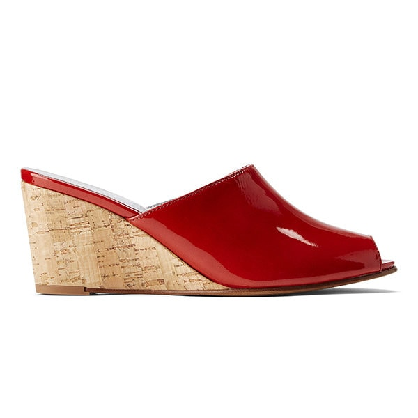 Ops&Ops No15 Mules Tomato patent leather with Cork heel, side view