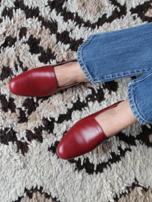 Ops&Ops No10 flats Claret leather with jeans