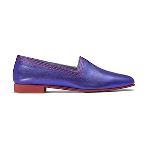 Ops&Ops No10 Racer flats Purple metallic leather with red multi-stitch and synthetic sole, inspired by Mr Freedom