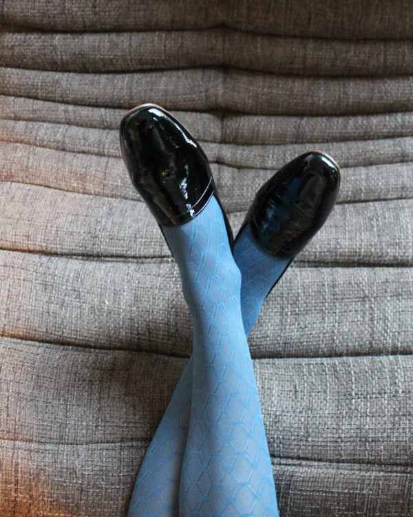 Ops&Ops No10 flats Bardot Black patent leather with tights