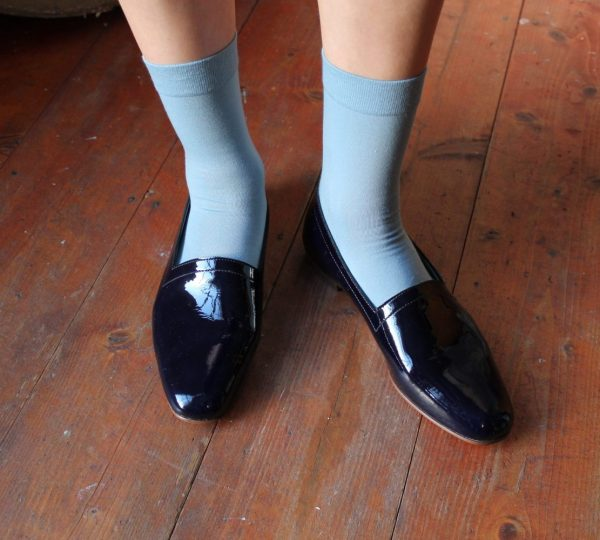 Ops&Ops No10 flats Midnight Blue patent leather and socks