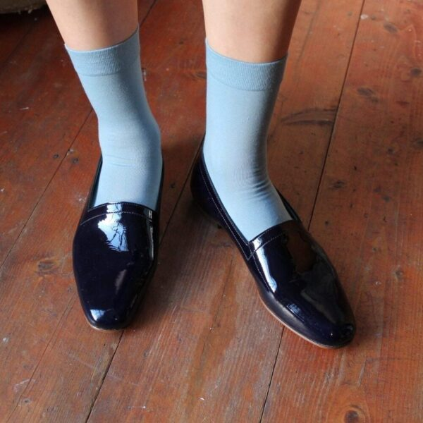 Ops&Ops No10 Midnight Blue patent leather flats and socks