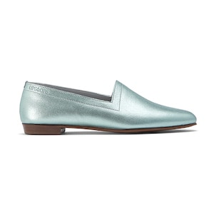 Ops&Ops No10 flats Metallic Mint leather, inspired by Mr Freedom