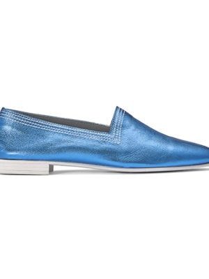 Ops&Ops No10 Racer flats Turquoise metallic leather with white multi-stitch and synthetic sole, side view