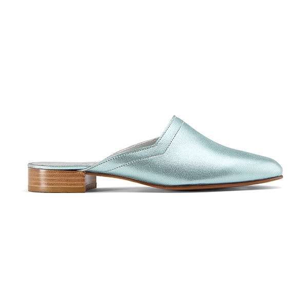 Ops&Ops No13 slides Metallic Mint leather, side view