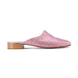 Ops&Ops No13 Pink Pois metallic leather slides, inspired by Mr Freedom