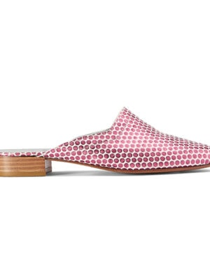 Ops&Ops No13 slides Pink Pois metallic leather with natural sole and heel, side view