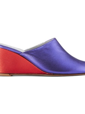 Ops&Ops No15 mules Metallic Purple leather with Metallic Red leather wedge heel, side view