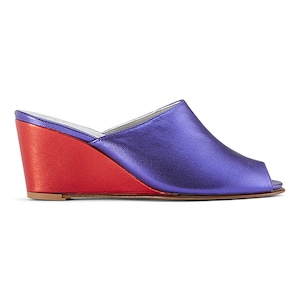 Ops&Ops No15 mules Metallic Purple leather with Metallic Red leather wedge heel, inspired by Mr Freedom