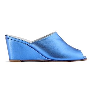 Ops&Ops No15 mules Metallic Turquoise leather, inspired by Mr Freedom