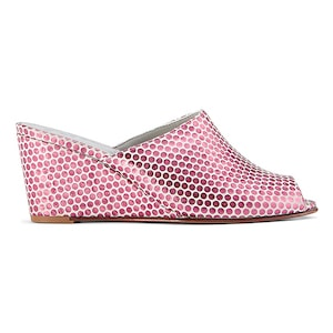 Ops&Ops No15 mules Pink Pois metallic leather, inspired by Mr Freedom