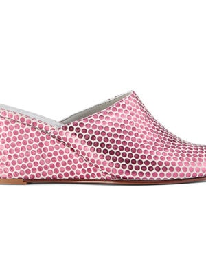 Ops&Ops No15 mules Pink Pois metallic leather, side view