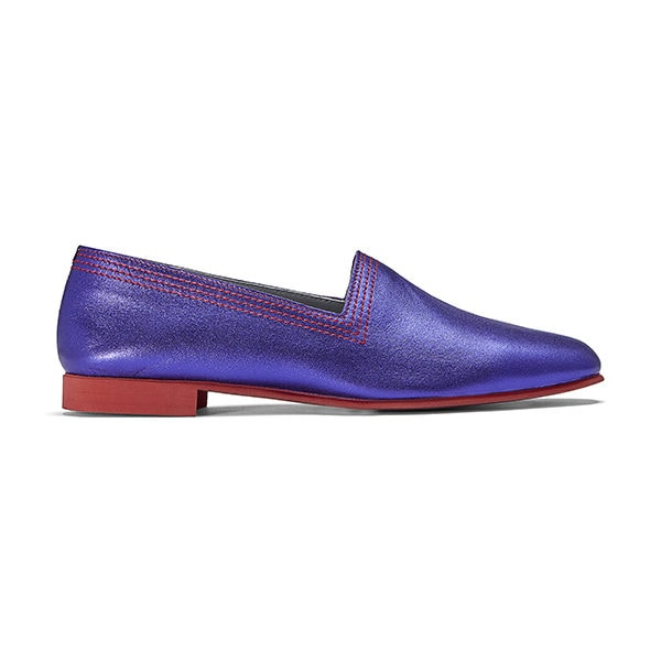 Ops&Ops No10 Racer flats Purple metallic leather with red multi-stitch and synthetic sole, side view