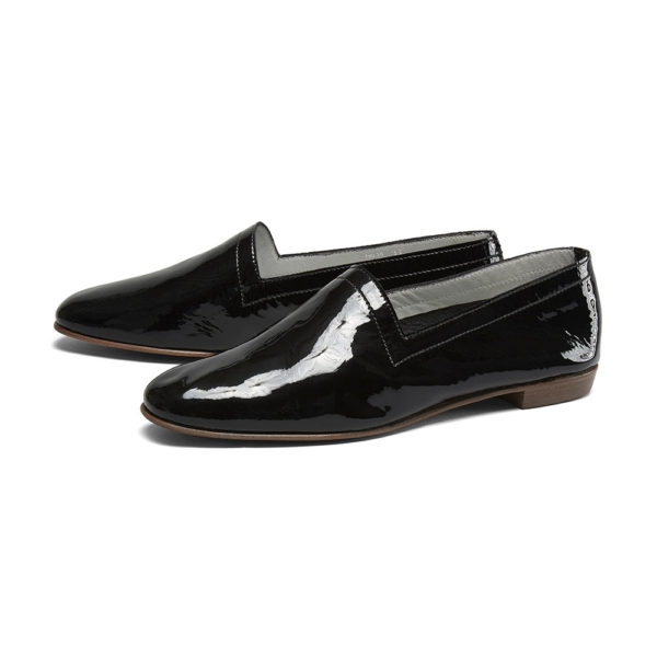 Ops&Ops No10 Bardot Black patent leather flats, pair