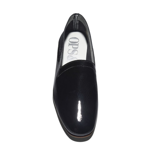 Ops&Ops No10 Bardot Black patent leather flats, front