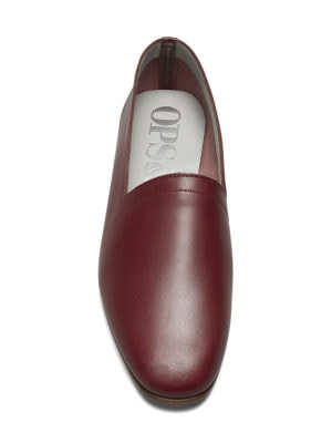 Ops&Ops No10 Claret leather flats, front