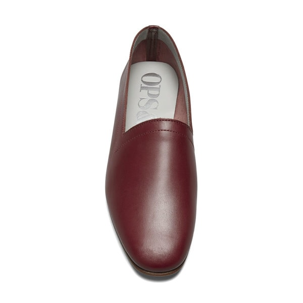 Ops&Ops No10 Claret leather flats front view