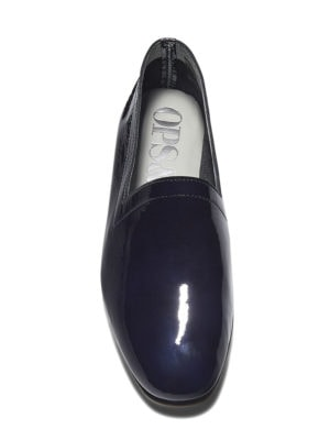 Ops&Ops No10 flats Midnight Blue patent leather, front view