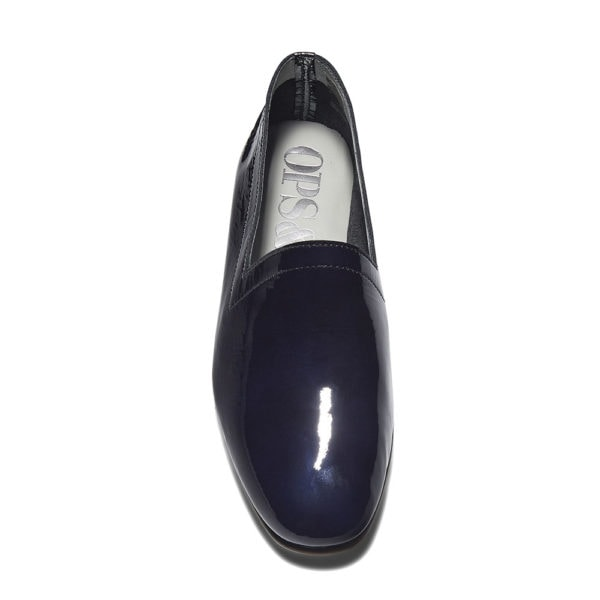 Ops&Ops No10 Midnight Blue patent leather flats front view