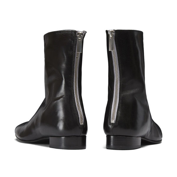 Ops&Ops No12 Classic Black leather boots with silver zipper back view