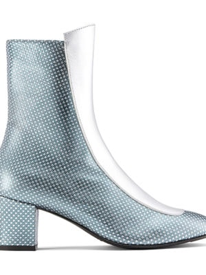 Ops&Ops No16 boots Silver Duo, side view: blue and silver metallic leather with silver front panel