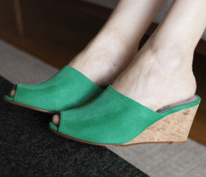 Ops&Ops No15 Emerald wedge mules side view, close-up