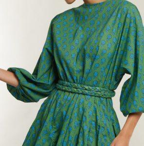 Rhode Resort green floral-print dress