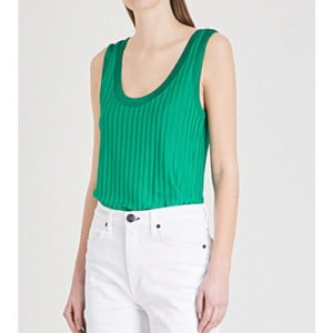 Sandro emerald ribbed jersey vest top