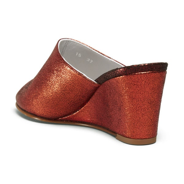 Ops&Ops No15 Flame red glitter leather mules back view