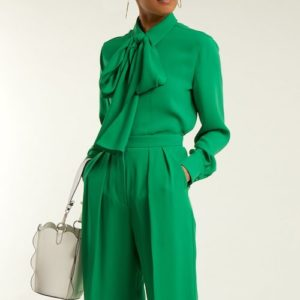 Sara Battaglia green pussy-bow blouse and trousers