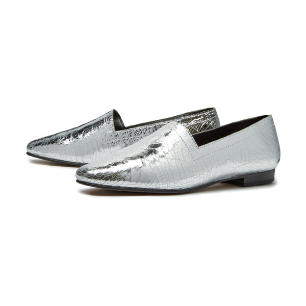 Ops&Ops No14 Silver Foil leather lined flats, pair