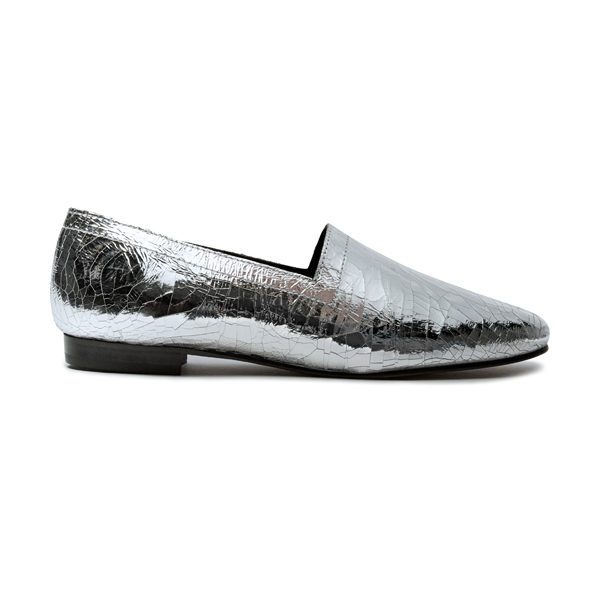 Ops&Ops No14 Silver Foil leather lined flats, side view